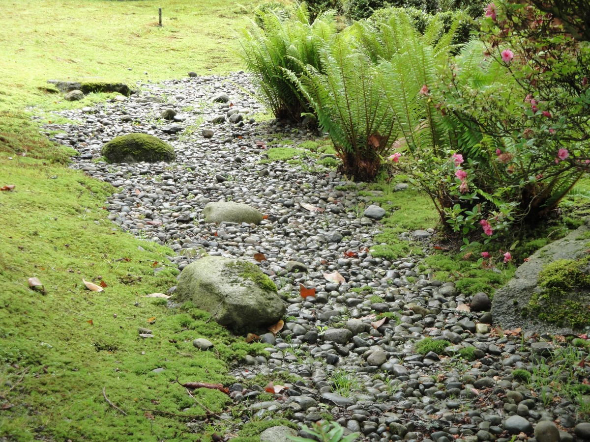 Dry river beds are Japanese design features too Note the