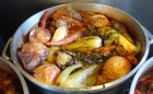Vegetables, veal bones and water create the stock