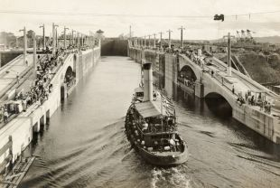 First boat thru Panama Canal September 26, 1913