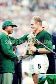 President Mandela congratulating Springbok rugby coach Francois Pienaar 1995-Sport Photo Gallery