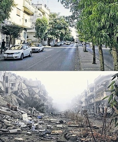 A neighborhood street in Homs Syria before-after. http://www.theguardian.com/world/2014/jan/26/syria-heritage-in-ruins-before-and-after-pictures